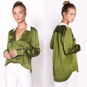 EQUIPMENT Ansley Green Silk Pocket Shirt Blouse